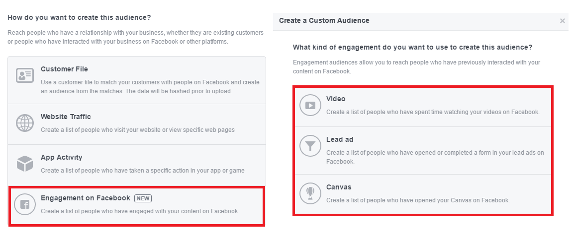 Custom audience – engagement
