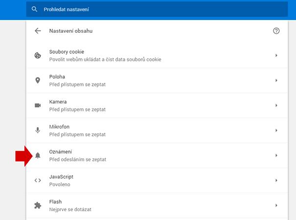 Chrome - nastavení oznámení